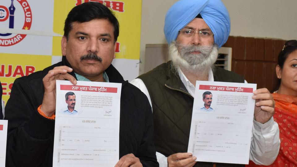 AAP's Punjab affairs in-charge Sanjay Singh and senior leader HS Phoolka at the launch of a campaign against drugs , in Jalandhar on Sunday.