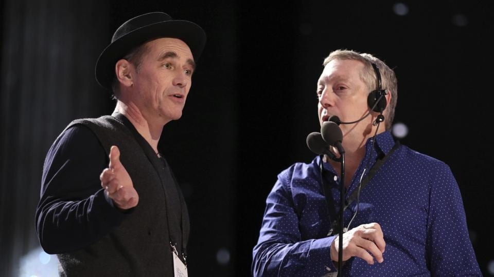 Mark Rylance, left, and stage manager Gary Natoli appear during a rehearsal. He won the Best Supporting Actor award last year for Bridge of Spies.  (Matt Sayles/Invision/AP)