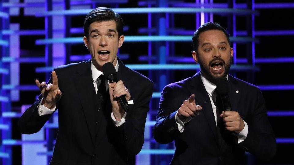 Hosts John Mulaney (L) and Nick Kroll sing at the 2017 Film Independent Spirit Awards in Santa Monica.