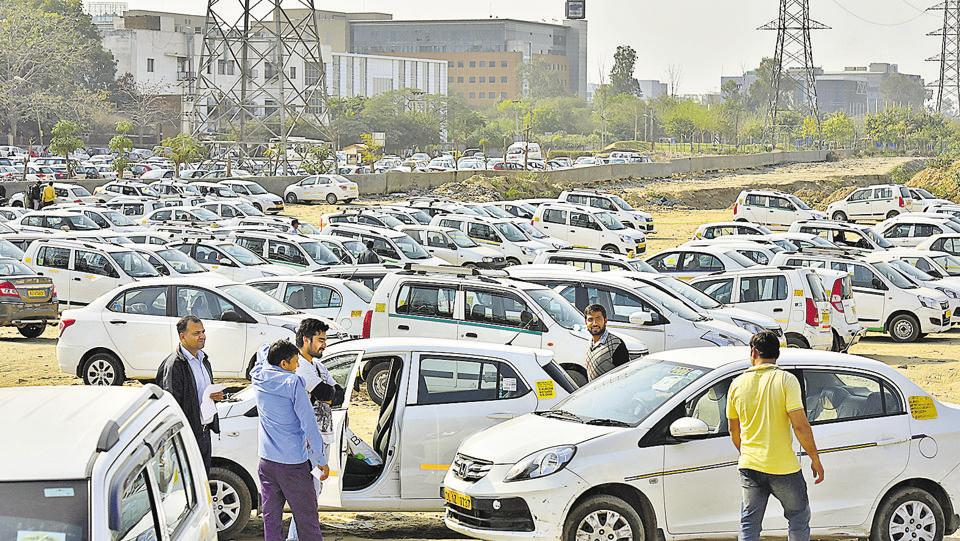 Cabs grounded during the strike called by drivers working for Uber and Ola.