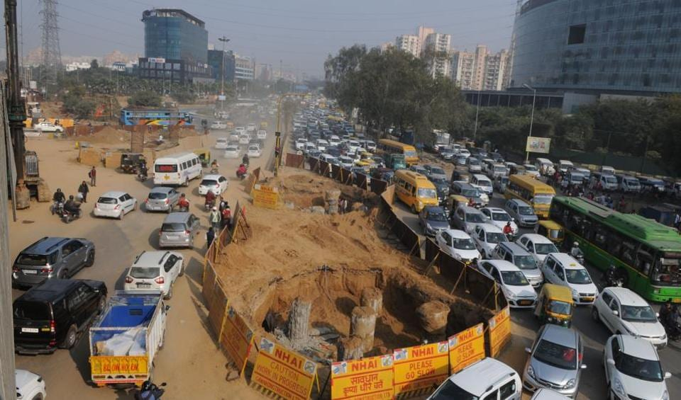 The ongoing construction work at Rajiv Chowk has impeded the movement of traffic.