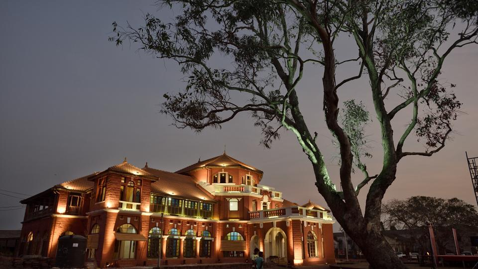 The Thibaw palace at  Ratnagiri in Maharashtra, where the last king of Burma was exiled by the British. The palace is lit up during an annual arts festival that takes place in January. The crumbling palace is now being restored by the state archaeology department.