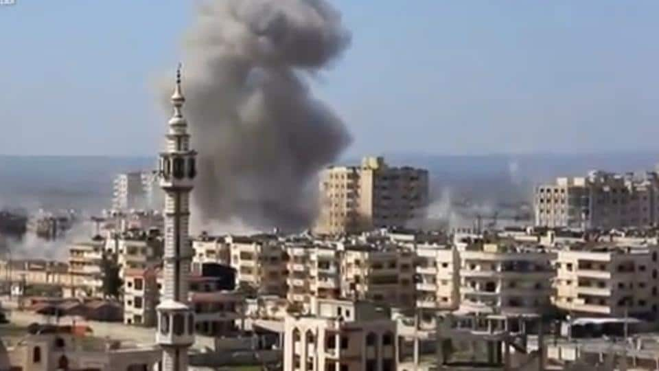 A still image taken from a video uploaded to a social media website, on February 25, 2017, purports to show air strikes in the rebel-held al-Waer area of Homs, Syria.