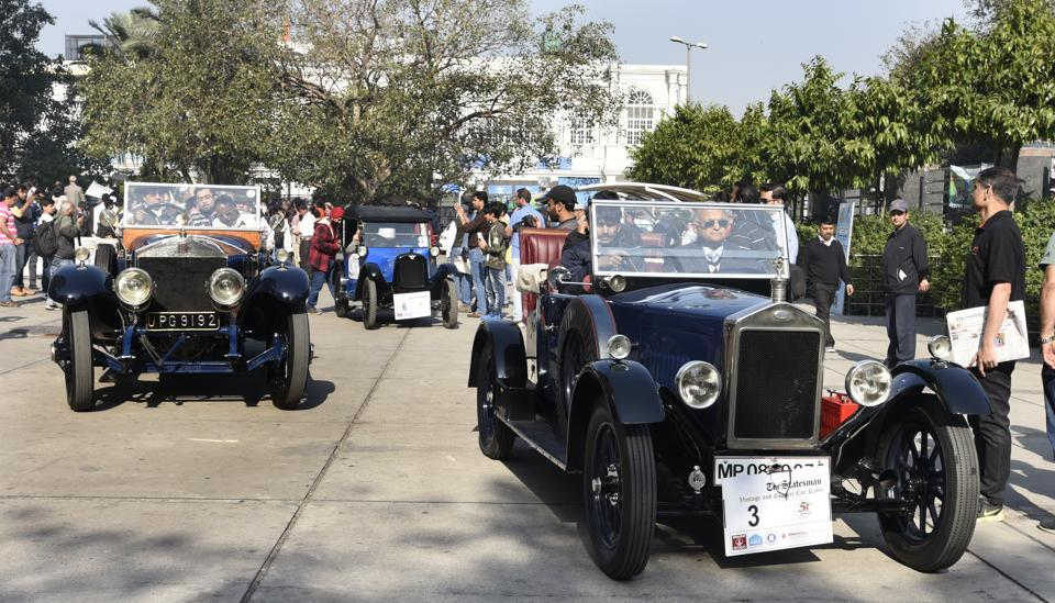 Participants of the 51th Statesman Vintage and Classic Car Rally in New Delhi on Sunday.