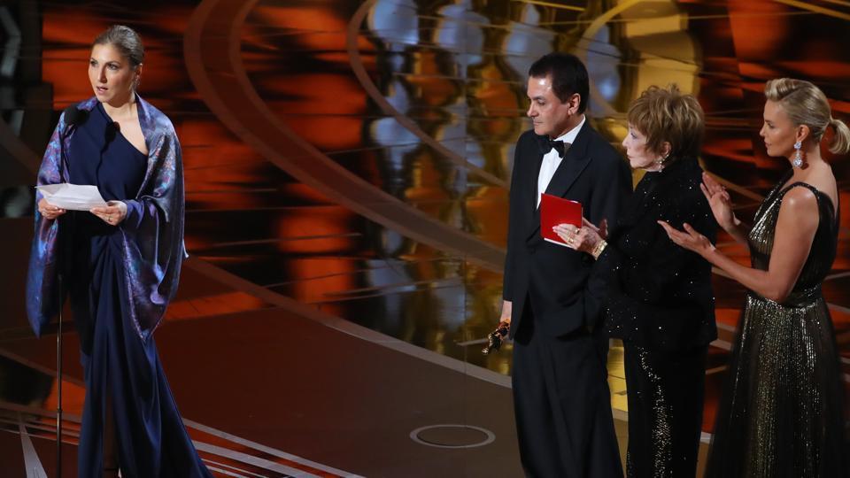 Iranian astronaut Anousheh Ansari accepting the Oscar and reading out a note on behalf of Iranian director Asghar Farhadi.