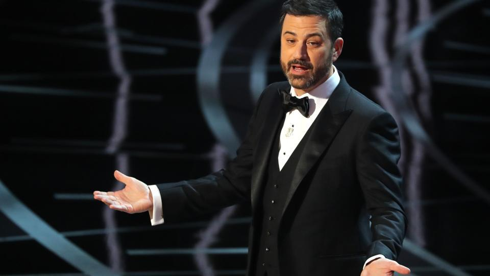 Host Jimmy Kimmel at the 89th Academy Awards at Los Angeles' Dolby Theatre.