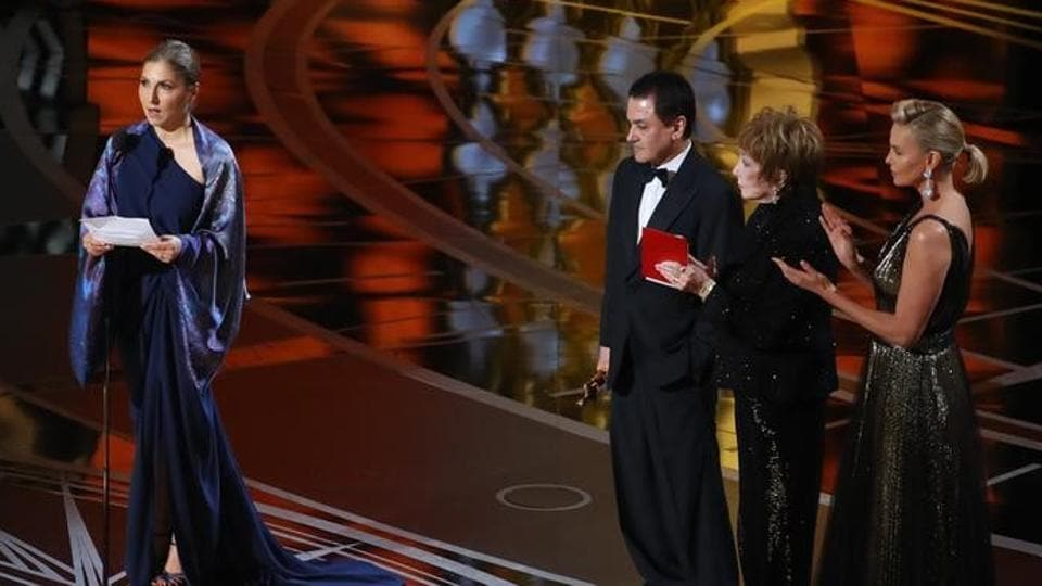 Iranian astronaut Anousheh Ansari reading a statement from The Salesman director Asghar Farhadi after the film won the Best Foreign Language Film at the 89th Academy Awards in Los Angeles on Monday.