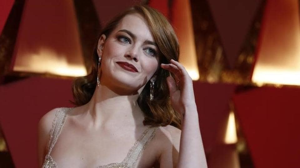 Emma Stone on the red carpet at the 89th Academy Awards at Los Angeles' Dolby Theatre on Monday. (Reuters)