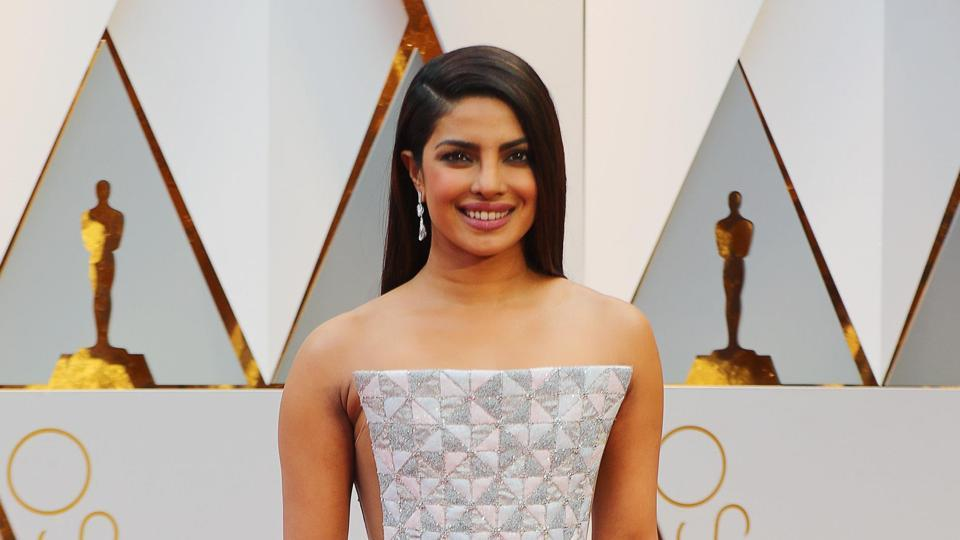 Actor Priyanka Chopra attended the  89th Academy Awards wearing a geometric Ralph & Russo gown.