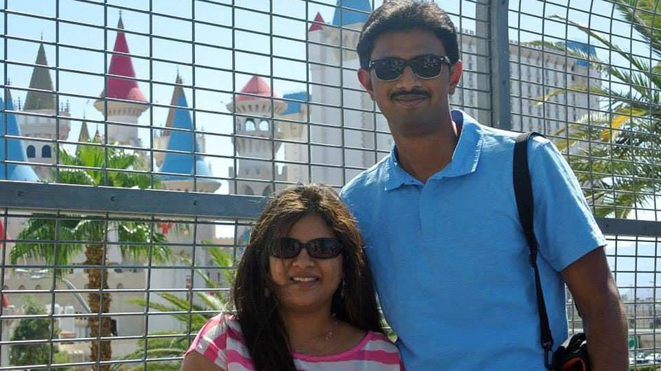 Aviations engineer Srinivas Kuchibhotla (right) with his wife Sunayana Dumala. The Indian techie died after being shot at in an apparent race attack at a Kansas bar.