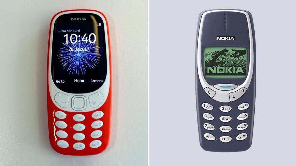 A combination photo of the new Nokia 3310 and the old version of the phone carrying the same moniker.
