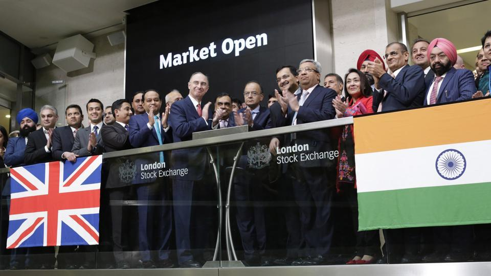 London Stock Exchange Group CEO Xavier Rolet welcomes finance minister Arun Jaitley, UK secretary of state for international trade Liam Fox,Indian high commissioner YK Sinha and FICCI president Pankaj Patel to open London Stock Exchange trading on February 27, 2017.