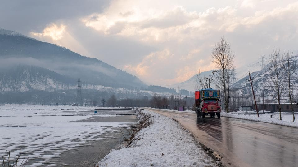 A truck plies on the national highway between Baramulla and Uri. (Nilakkhya Dutta)