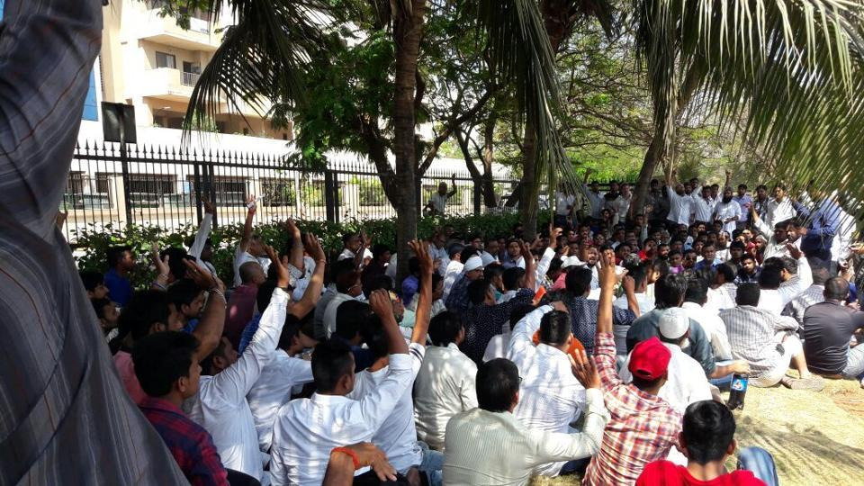 Drivers of the app-based taxis participate in the meeting to plan the agitation at Bandra-Kurla Complex in Mumbai.