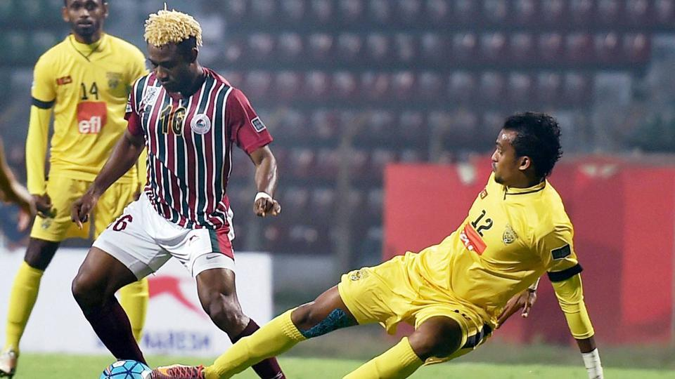 Mohun Bagan striker Sony Norde in action against Club Valencia during their AFC Cup encounter.