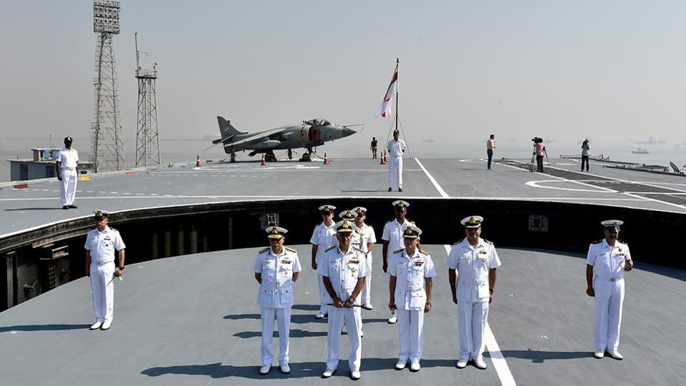 Vice-admiral Girish Luthra, flag officer commanding-in-chief western naval command and captain Puneet Chadha visit INS Viraat  on Monday. (Kunal Patil/ht photo)