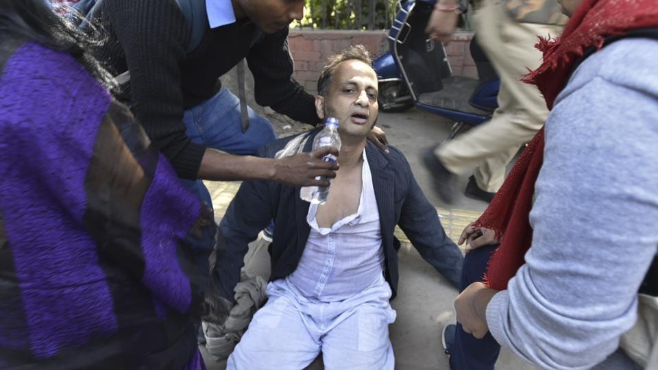 Delhi University professor Prasanta Chakravarty, who was beaten up by ABVP activists, has broken ribs and severe internal injuries.