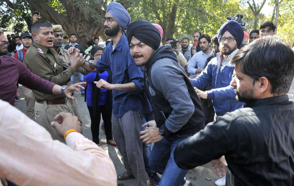 ABVP and SFS student organisations during the clash at Student Centre in Panjab University, Chandigarh, on Monday.