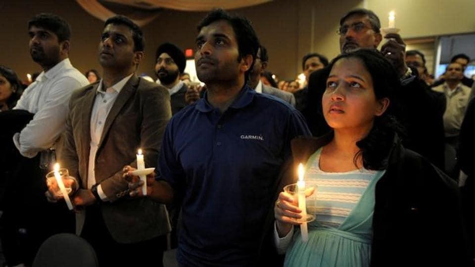 Alok Madasani and his wife Reepthi Gangula at the candlelight vigil for Srinivas Kuchibhotla in Olathe, Kansas, on Sunday.