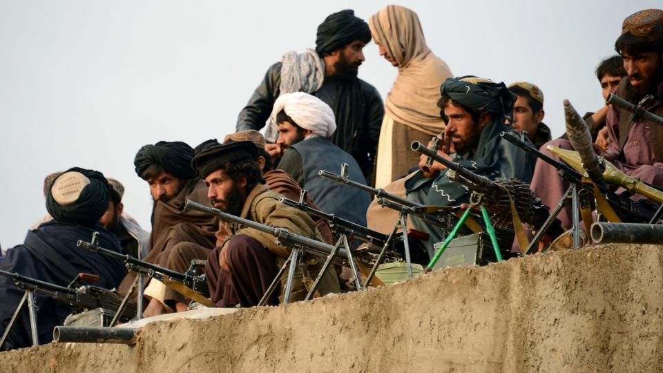 Afghan Taliban fighters at Bakwah in the western province of Farah.