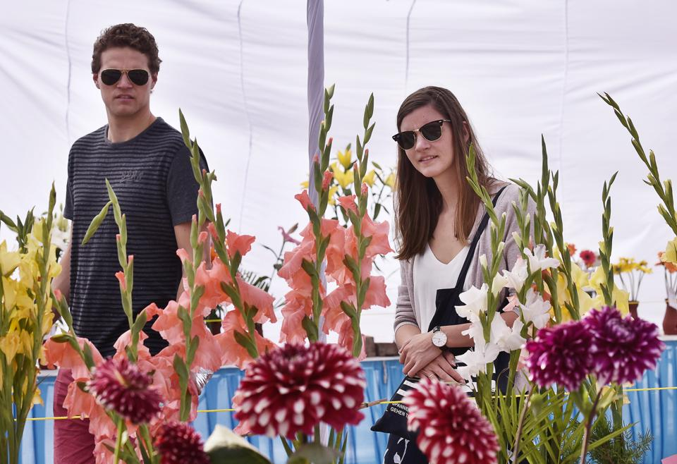 Visitors flocked to Leisure Valley on the closing day of the Gurgaon flower show on Sunday.