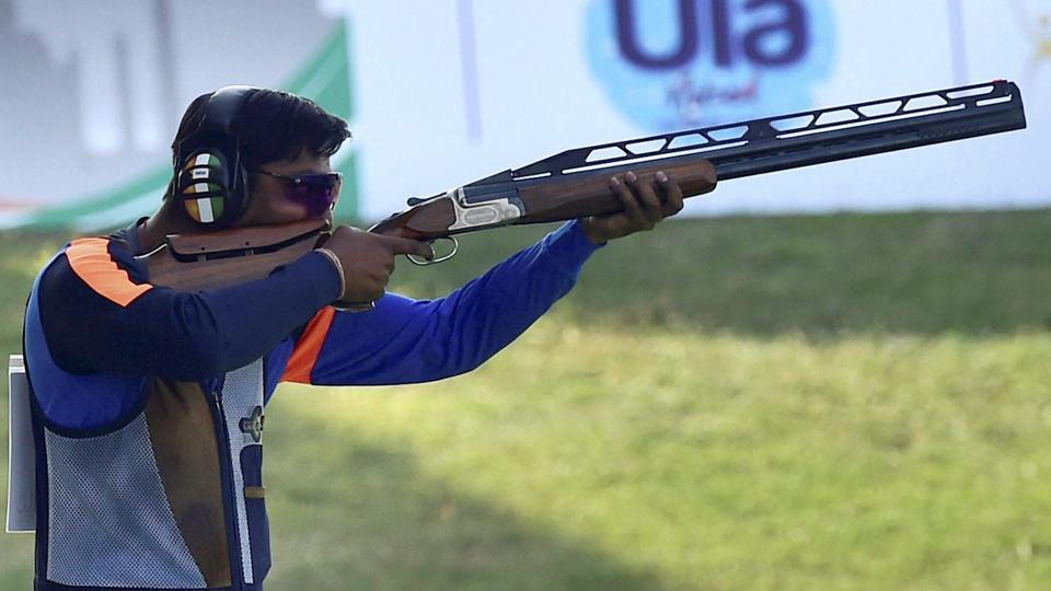 India's Ankur Mittal shoots during the final of the men's double trap event at the ISSF World Cup (International Shooting Sport Federation World Cup)in New Delhi on Monday.
