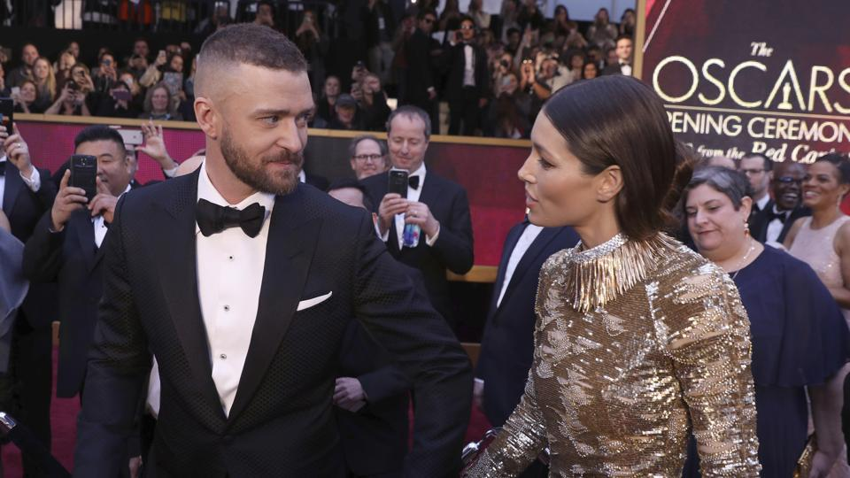 Justin Timberlake (left), and Jessica Biel arrive at the Oscars on Monday. (AP)