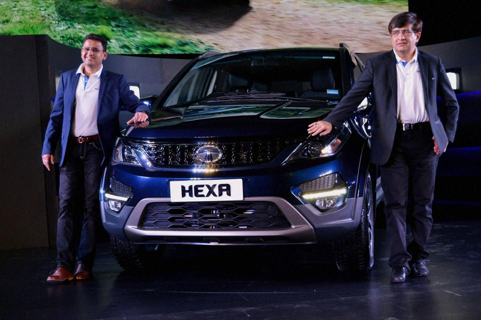 President of Passenger Vehicle Business unit at Tata Motors Mayank Pareek and Head of Marketing, Passenger Vehicles Business Unit Vivek Srivatsa at the launch of Tata Hexa, in Aerocity, New Delhi.