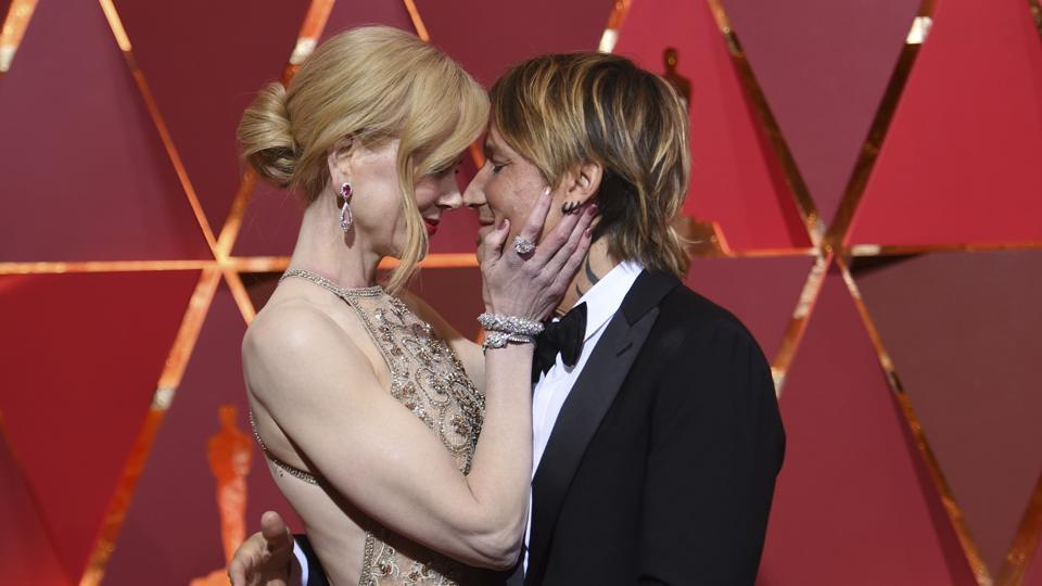 Nicole Kidman (left) and Keith Urban at the Oscars on Monday.  (AP)