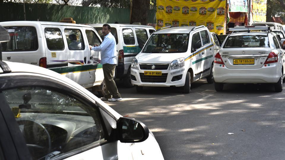 Ola & Uber drivers during protest at Jantar Mantar in New Delhi.
