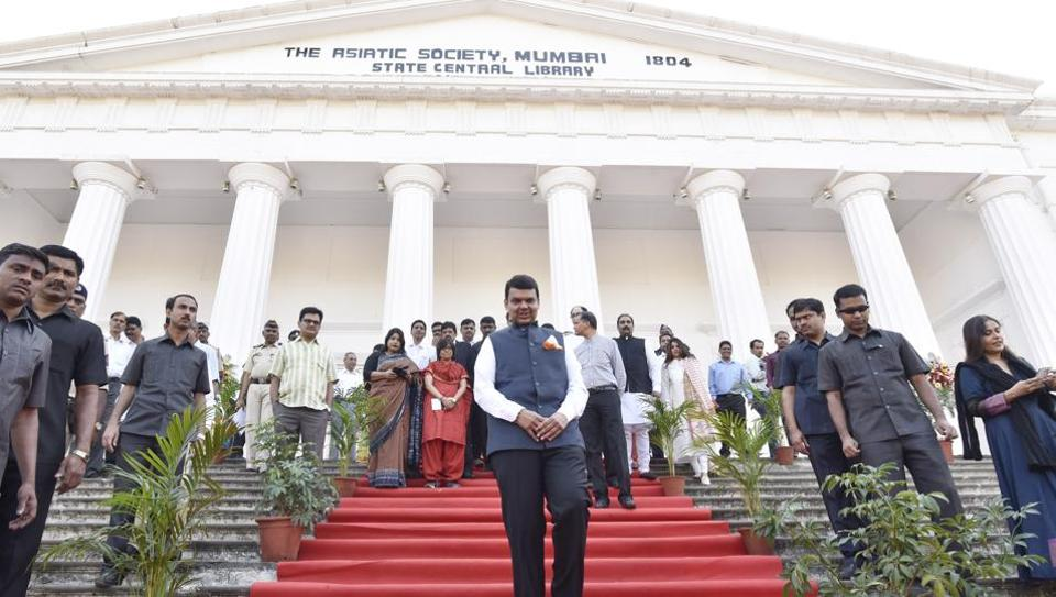 Chief minister Devendra Fadnavis at the Asiatic Library on Sunday.