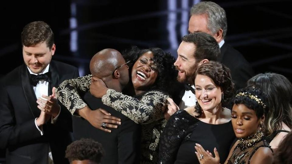 Joi McMillon and cast of 'Moonlight' celebrate Best Picture.