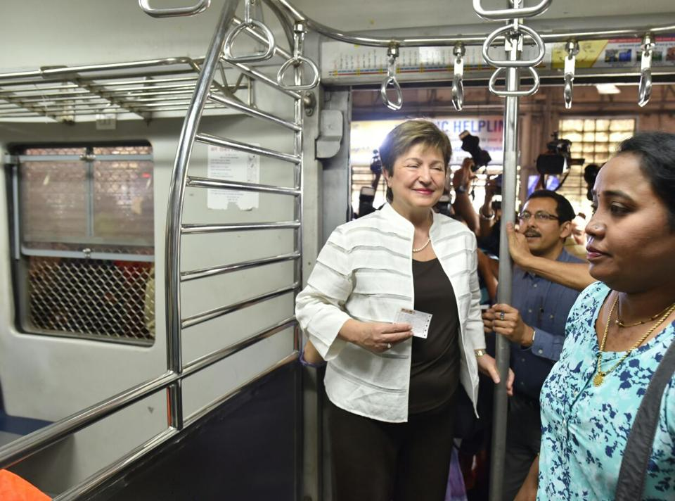 Kristalina  Georgieva travelled in a second class compartment of an Andheri-bound local train form Churchgate to Dadar and interacted with the women commuters.