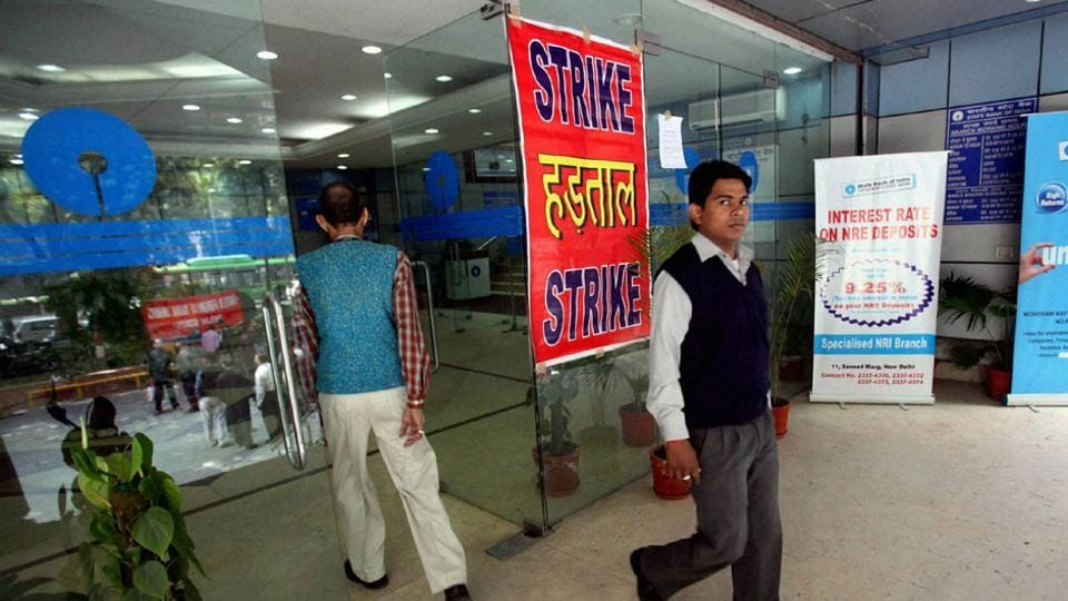 """Banking operations across the country came to a halt on Tuesday as 10 lakh bankers staged a strike against the government's """"anti-people banking reforms."""