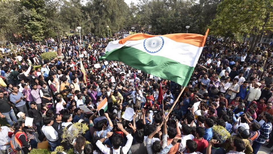 Students of Delhi University and JNU protest against ABVP at north campus.