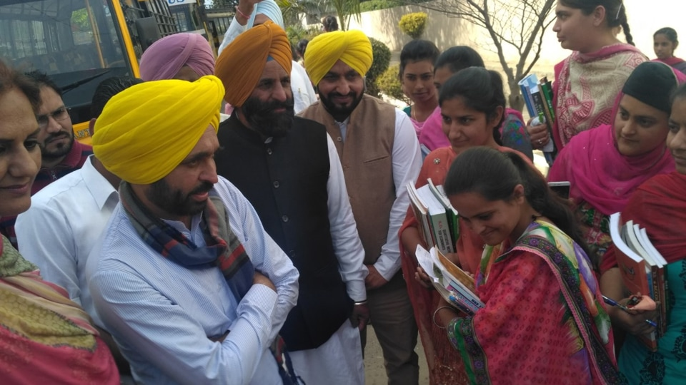 Bhagwant Mann talking to students of Desh Bhagat Polytechnic College Bardwal, Dhuri, on Tuesday.