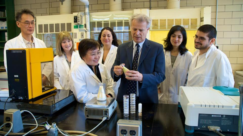 Professor Levente Diosady (center) of the University of Toronto in his laboratory.