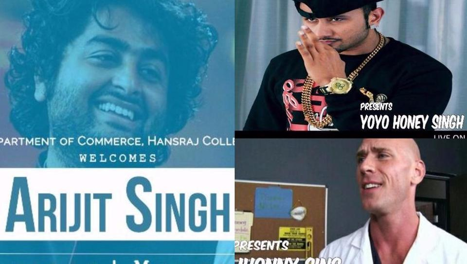Fake posters announcing upcoming star gigs in Delhi University are being circulated on Facebook.