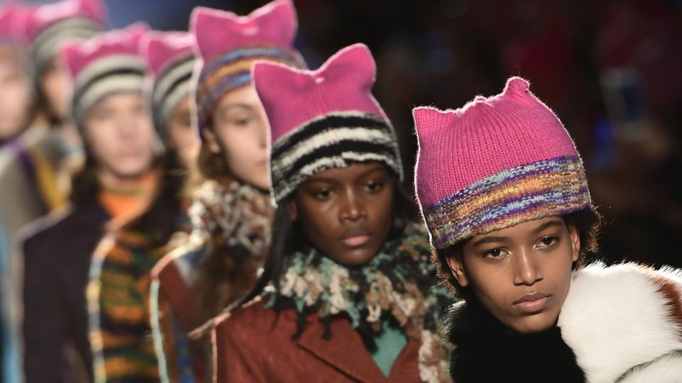 Italian designer Angela Missoni brought the political fight to Milan Fashion Week by ending her autumn-winter 2017 show with models clad in Pussyhats, the pink protest symbols of women's rights.