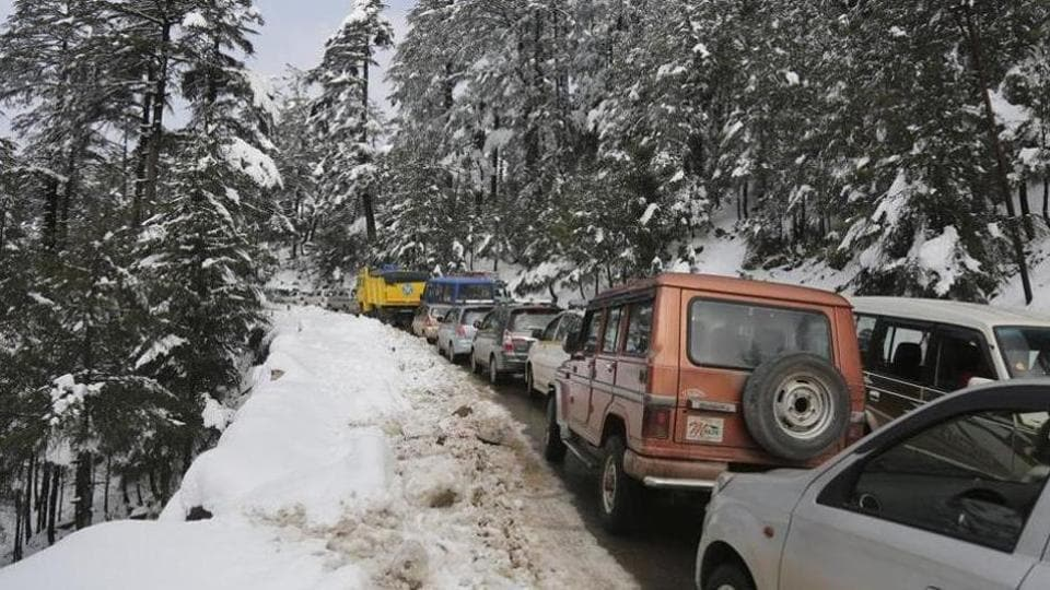 Landslides on Tuesday forced closure of the Jammu-Srinagar national highway yet again stranding scores of vehicles carrying passengers and goods.