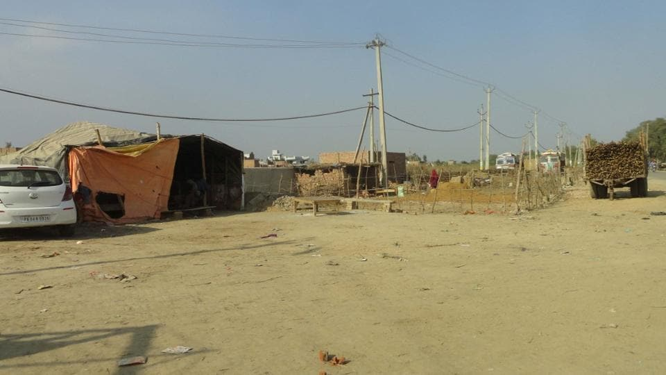 The illegal structures on the government land in Jaitu.