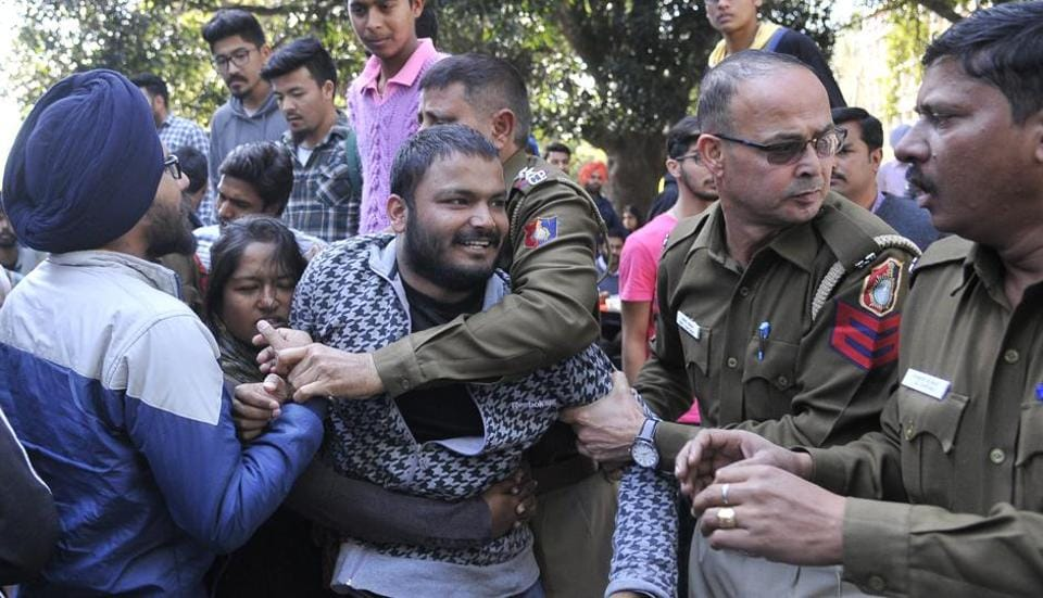 Supporters of the Akhil Bharatiya Vidyarthi Parishad (ABVP) and left-leaning Students for Society (SFS) clashed at Panjab University's Student Centre in Chandigarh on Monday.