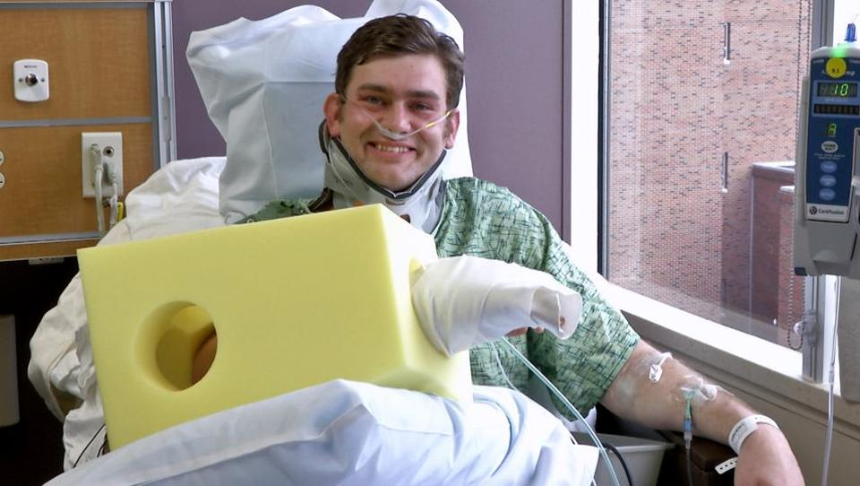 This February 23 image from a video shows Ian Grillot in the University of Kansas Hospital in Kansas City.