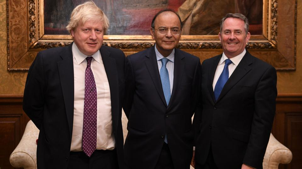 British foreign secretary Boris Johnson (left) and international trade secretary Liam Fox (right) with visiting Indian finance minister Arun Jaitley at the Foreign Office in London on February 27, 2017.