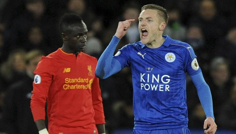 Leicester City FC's Jamie Vardy gestures after scoring against Liverpool FC during a English Premier League match.