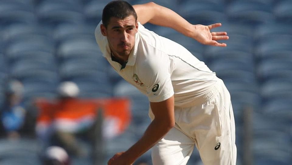 Mitchell Starc bowls during the first India vs Australia Test in Pune.