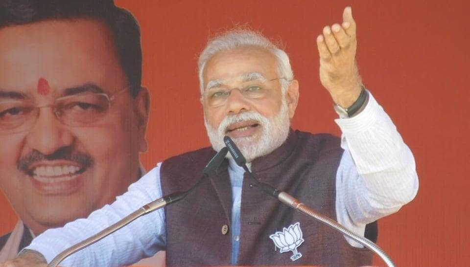 Prime Minister Narendra Modi addressing an election rally in Gonda district of Uttar Pradesh, India, on Friday.