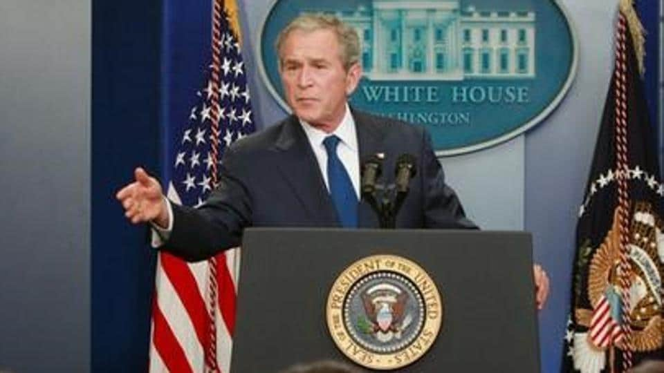 George W Bush during a news conference in the Brady press briefing room at the White House in Washington, DC.
