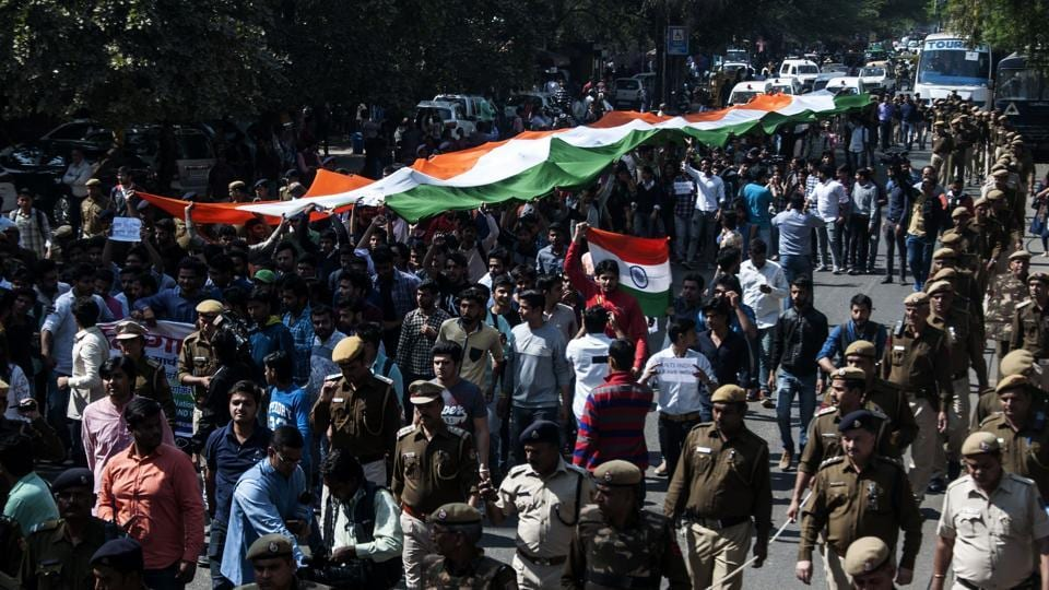Akhil Bharatiya Vidyarthi Parishad members carry out  Tiranga Rally on Tuesday.