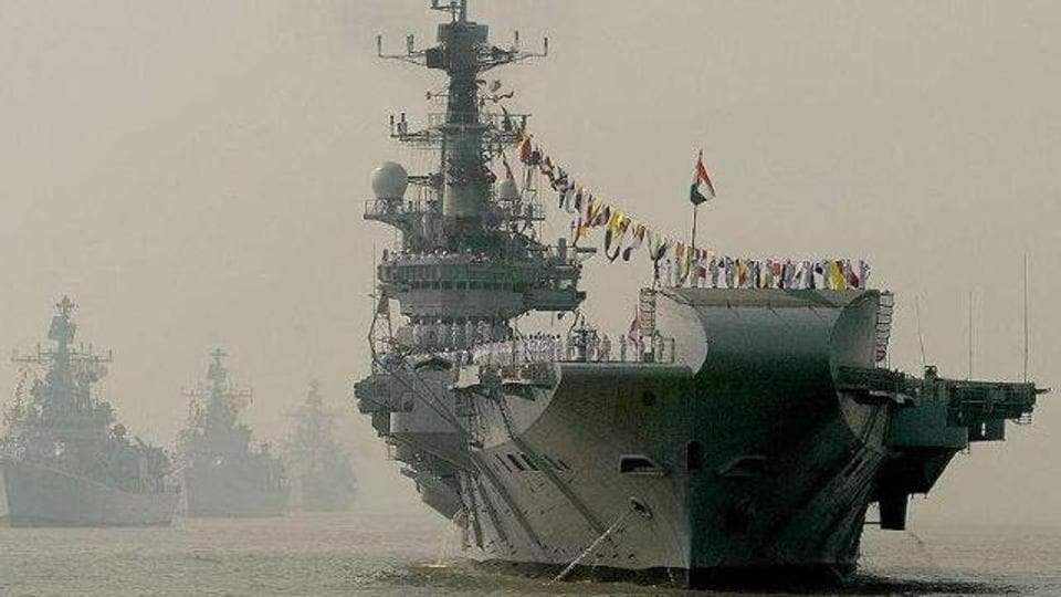Minesweepers are used to de-mine sea lanes for larger vessels, such as the  Indian Navy's aircraft carrier INS Viraat (in pic),  to pass. The INS Viraat will be decommissioned on March 6, 2017.